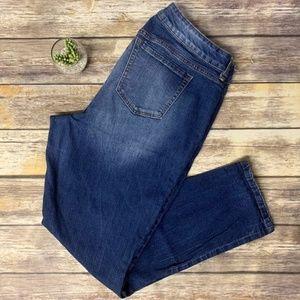 Torrid Boyfriend Sandblasted Dark Wash Denim Jeans
